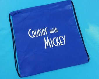 """Drawstring Cinch Backpack Knapsack for Disney Cruise Fish Extender gift - FE Gift - """"Cruisin' with Mickey"""""""