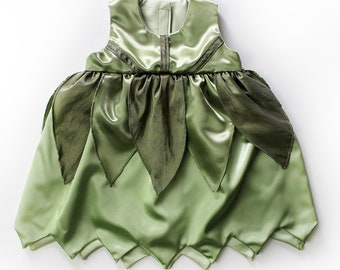Baby Girls Vintage Style Baby Tinkerbell Poison Ivy Green Fairy Costume Dress - Sz 6 to 12 Months - Handmade Ready to Ship