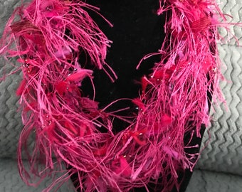 Be Mine! Yarnie necklace. Colorful Mix of pinks