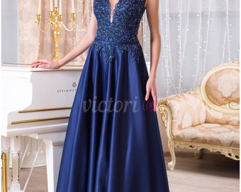 Long Evening  Blue Dress with Hand Embroidery