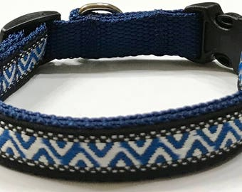 Dog Collar:Aztec/Southwestern Jacquard Ribbon Dog Collar, Silver Shimmer Collar, Custom/Puppy/Adult/Pet Collars,Pet Supplies,Veterinary Gift