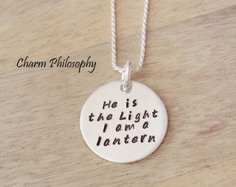 Personalized Quote Necklace - 925 Sterling Silver Handstamped Necklace - Choose Your Own Phrase - Round Custom Necklace