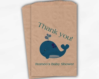 Whale Baby Shower Favor Bags - Boy or Girl Custom Kraft Paper Treat Bags for Baby Shower - 25 Paper Bags (0019)