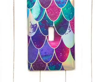 Mermaid Switchplate   Beach Light Switch  Mermaid Scales   Nautical Switchplate   Mermaid Decor   Outlet Covers   Double Light Switch