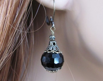 Vintage Style Earrings, Black Earrings, Black Crystal Earrings, Anniversary, Birthday Gift, Antique Style, Dangle Earrings, Antique Brass