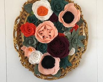 Vertical garden, hanging garden, wall decor, home decor, wall hanging, felt flowers, felt flower decor,