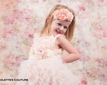 Blush Pink Flower Girl Dress, Blush Tulle Wedding dress, Elegant Wedding, Tutu Dress, Boho Chic, Couture Style, Rosette Detail Pearl