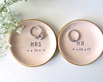 ring dish, wedding ring holder, Wedding Gift, Gift for Couple, Engagement Gift, Pink Pottery, Gold, Personalized Pottery, VIP Gift Wrap