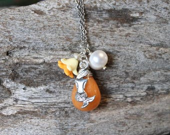 Dainty Mermaid Necklace - Orange Mermaid Jewelry from Hawaii - Ocean Inspired Necklace - Hawaiian Jewelry - Hawaii Necklace - Hawaii Jewelry