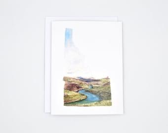 Idaho State Art Card - Idaho Art - Watercolor Notecard - Unique Notecard - Idaho Gift  - Blank Notecards - Idaho Watercolor - Greeting Card