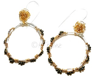 Silver and 14 K gold filler large hoop earrings with wire balls, large hoop earrings, gold and silver earrings,  gift for her
