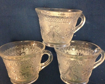 Sandwich Glass Cups by indiana Glass Company - Set of 3