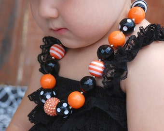 Halloween Necklace,  Bubble gum necklace, Girls Chunky Necklace,  Children's Necklace, Orange and Black Necklace