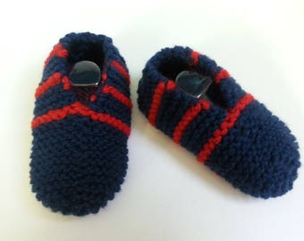 Red kids shoes T 26-27 Navy blue slip with stripes