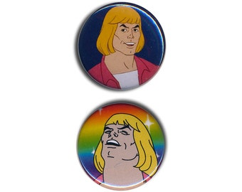 He-Man Pin Badges Masters of the Universe 25mm 1inch Badge pride flag rainbow gay action