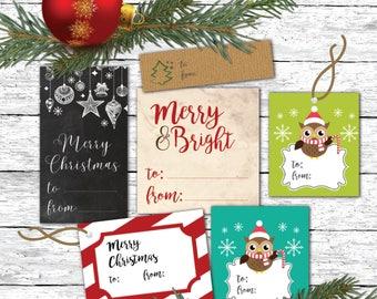 Christmas Gift Tags - Printable Gift Tags - Vintage Christmas - Christmas Wrapping - Antique Gift Tags - Rustic Gift Tags - Chalkboard Tags