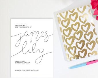 Custom Calligraphy Wedding Invitation Hand-Lettered - PRINTABLE Save the Date Custom Name Script