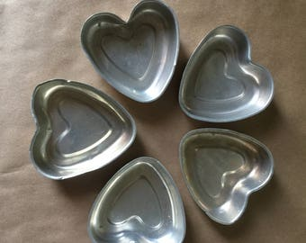 Set of Five 1960s Heart Shaped Mini Cake Pans Silver Hearts