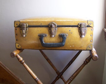 Vintage Trunk Suitcase Railroad Worker's Case Industrial Appeal Luggage
