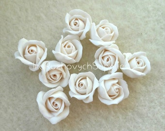 10 pcs. white ivory roses with hole on side, polymer clay flower bead