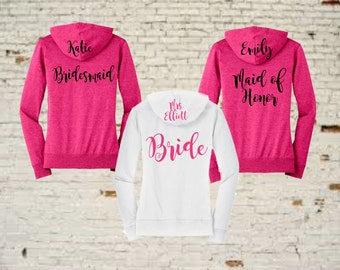 bridesmaid gift,personalized hoodie, personalized bridal shirts, bridal shirts, bride shirt, bridesmaid shirt, bh22