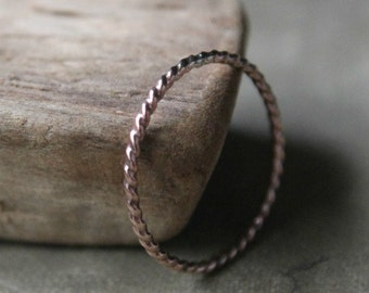 Rose Gold Filled Skinny Twist Stacking Ring - Dainty Little Rope Ring