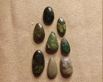 55% OFF Assorted Serpentine, Azurite & Malachite Freeform Oval Cabochons/ backed/seconds/ set of 8