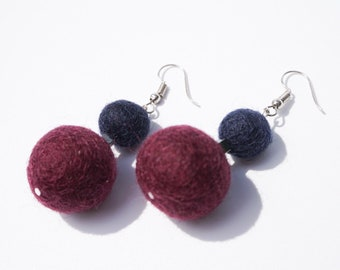 Pom Pom Earrings - Navy Blue and Plum / Eggplant