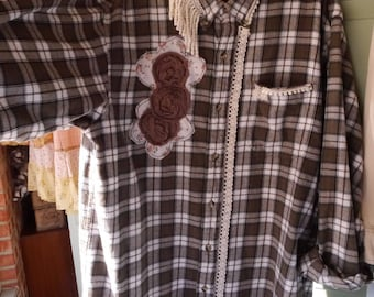 One-Of-A-Kind Unique Cowgirl Chic Farmgirl Boho Hippie Flannel Refashioned Wearable Art Tunic Shirt