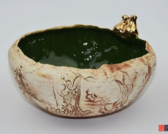 Gold-birds Large Green Bowl, Handmade Luxury Ceramic, Melbourne