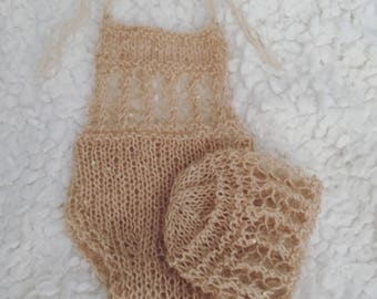Newborn size knit mohair romper and bonnet set,photo prop,gift,coming home,ready to ship