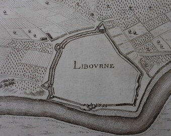 1660: Libourne, France. Map/Plan. Fortifications. By Merian.  From Topographia Galliae. Antique Engraving. Original. 350 years old.