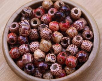 20 mini Wooden Dreadlock Hair Beads 5mm Hole (3/16 Inch) & Free Tibetan Bead