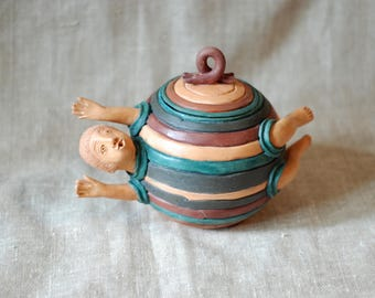 ceramic sugar bowl ceramic box stripe ceramic box pottery art ceramic unique bowl salt bowl small pottery bowl fly men box Christmas gift