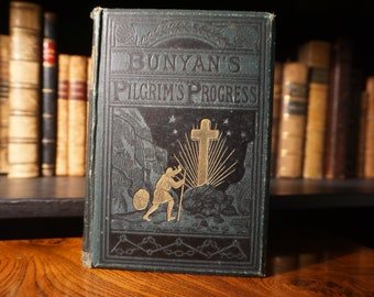 1877 The Pilgrim's Progress by John Bunyan ( Vintage Antique Book )