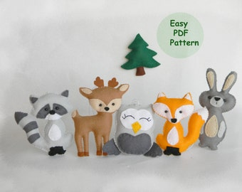 Woodland Mobile Sewing Pattern Easy woodland animals pattern PDF  Hand Sewing Pattern DIY Baby Mobile Pattern Fox Deer Raccoon Owl Bunny