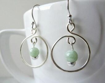 Jade hoop earrings - mint green - Jade earrings - sterling silver hoops - boho chic green drop earrings - green Jade earrings - mint earring