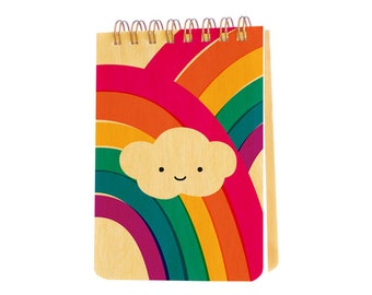 Puffy Cloud Wood Jotter - Real Wood Notepad - Mini Notebook - Pocket Notepad - J1934