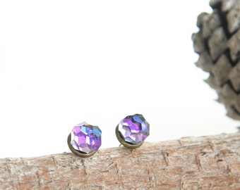 Crystal Ball Stud Earrings with 1950s Swarovski Crystal Heliotrope Faceted Ball