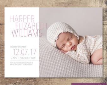 Printable Shades of Pink Birth Announcement / Customisable Digital File / JPG or PDF / Pink