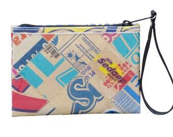 Small zip wristlet recycled cardboard, FREE SHIPPING, vegan wallet, wallet mini zipper Bag, Wallet purse, women's wallet, Purse wallet