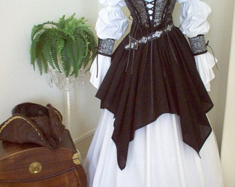 Complete Renaissance Pirate Wench Costume Different fabrics for the bodice.