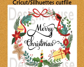 SVG file Cricut file cutfile Silhuettes file svg dxf eps files Cutting file svg Merry Christmas svg Christmas wreath svg dxf files