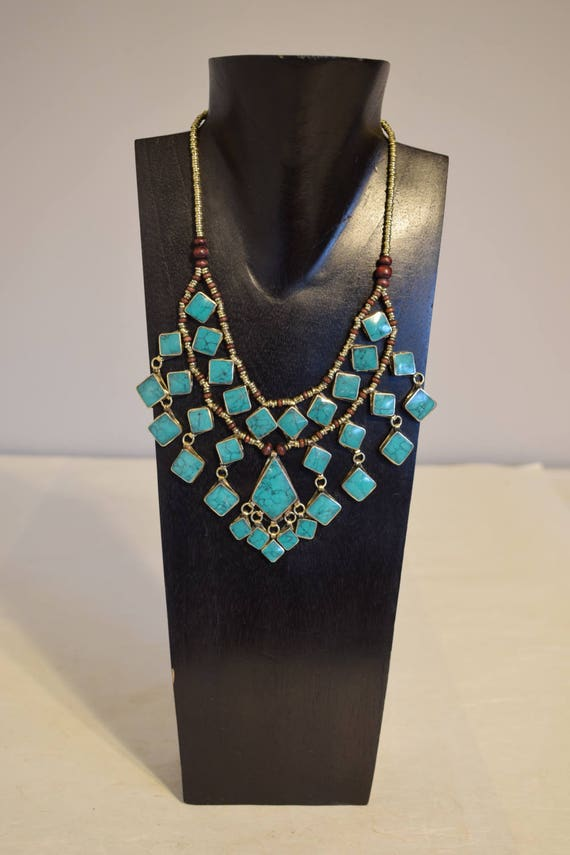 Necklace Turquoise Middle Eastern Kuchi 2 Strand Pendant Handmade Tribal Women Necklace Turquoise Triangle Pendants Silver Necklace