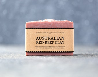 Australian Red Reef Clay Soap   Unscented Vegan Soap