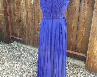 true original vintage 50s 60s blue evening dress ladies long size 8 10 handmade