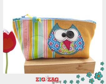 """Kit gusseted zip """"OWL"""" (yellow/striped 23 x 10 x 8 cm)"""