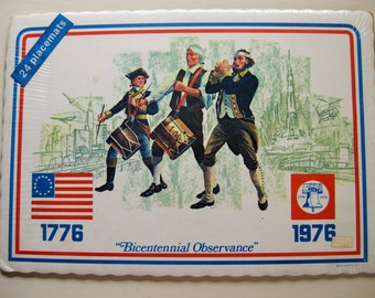 "4th of July. 24 Bicentennial paper placemats still in wraps. ""Bicentennial Observance"" Red, white, blue. Patriotism."