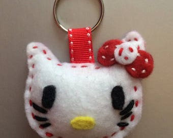 Keychain hello K white and Red