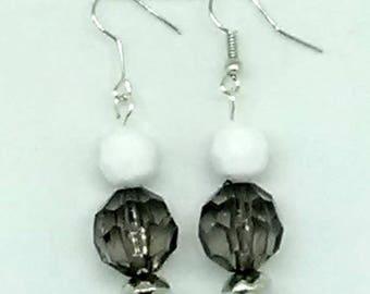 Smoky Black and White Beaded Earrings